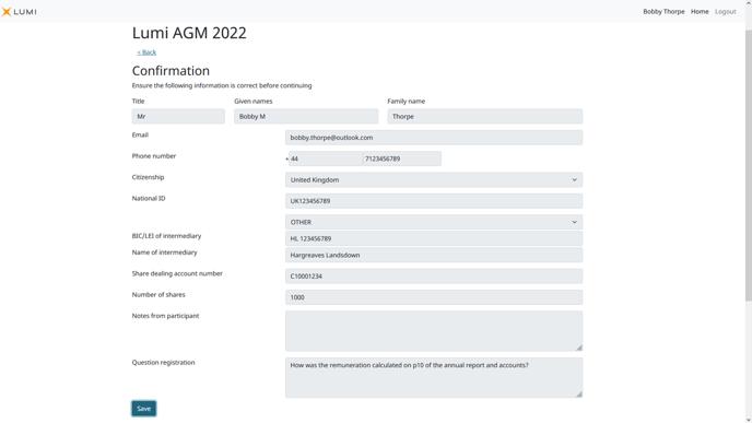 Lumi AGM+ - Meeting Participant Confirmation Screen