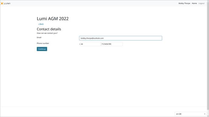 Lumi AGM+ - Meeting Participant Contact Details Screen