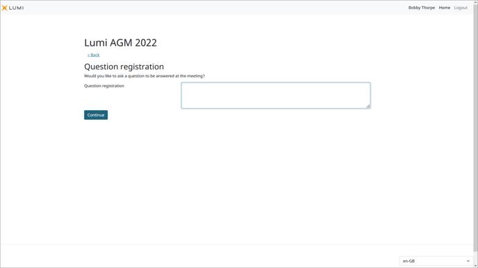 Lumi AGM+ - Meeting Participant Question Registration Screen