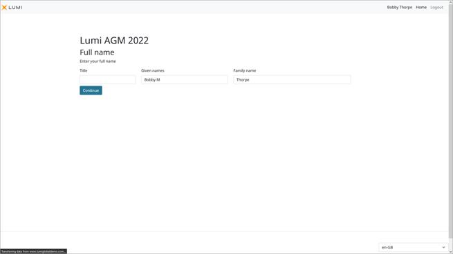 Lumi AGM+ - Meeting Participant Request Name Screen